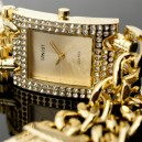 Montre Femme Gourmette Plaqué Or 2 chaines Strass