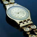 Montre Femme plaque or extra plate 14 carats strass