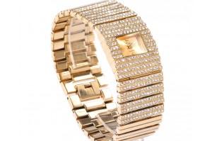 Bracelet Or Montre Femme Gourmette Bijou Plaqué Strass j34c5ARLqS