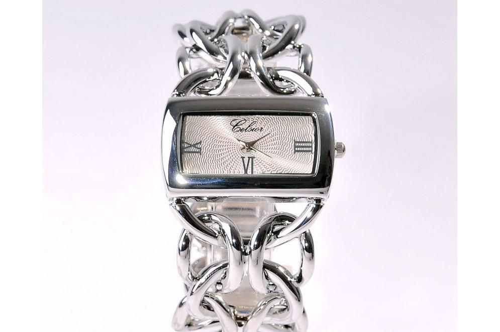 ad989c1d9eb ... Montre Femme Bijoux Bracelet Gourmette Plaqué argent  MON-F-CELS-CHAI-F07 ...